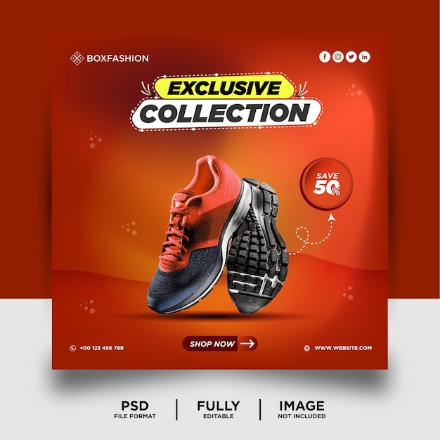 Orange color shoes brand product social media post banner