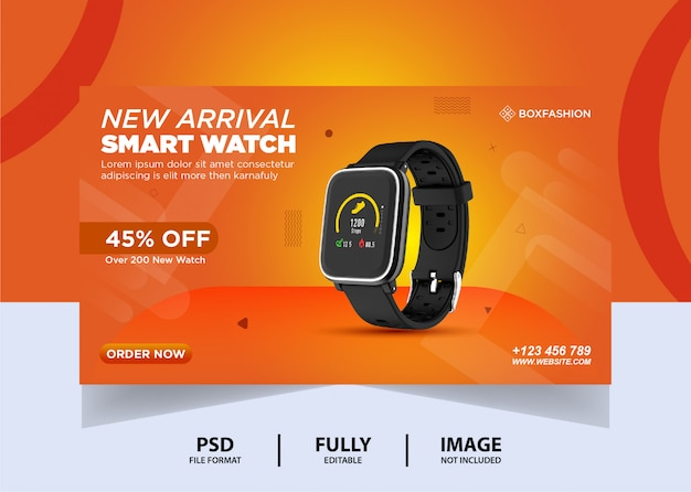 Orange color watch brand web banner design