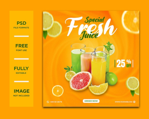 Orange drink social media or instagram post template premium psd