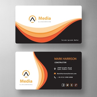Orange elegant psd visit card