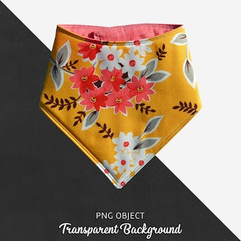 Orange floral patterned bandana on transparent background