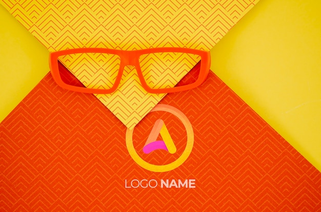 Orange frame lens with company logo names