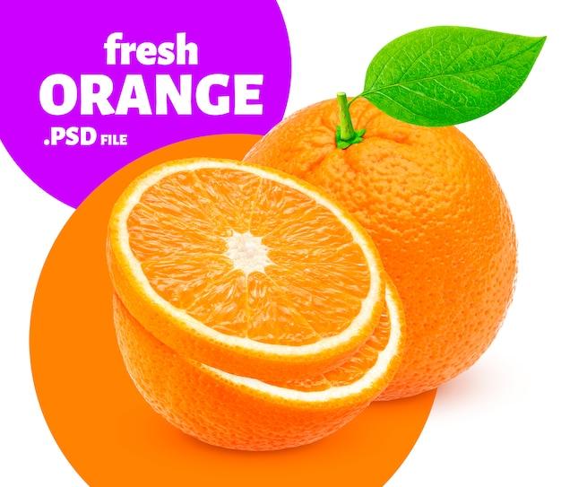 分離されたオレンジ色の果物、バナー