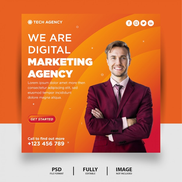 Orange gradient color digital marketing social media post instagram banner