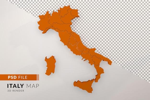 Оранжевая карта италии 3d визуализации, изолированные с видом сверху регионов италии