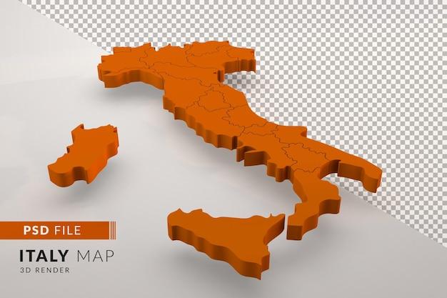 Оранжевая карта италии на 3d-рендере изолирована с регионами италии