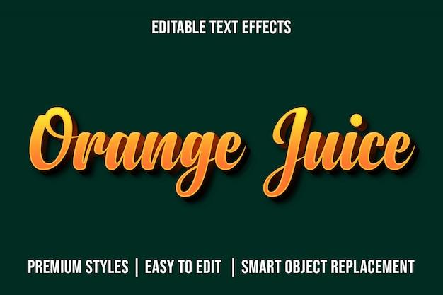 오렌지 주스 -3d 편집 가능한 텍스트 효과 프리미엄 psd