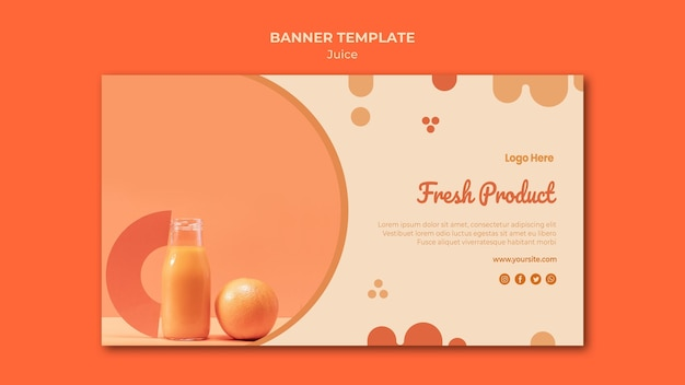 Orange juice banner template with photo