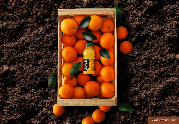 Orange juice bottle over oranges box