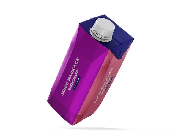 Modello di mockup di scatola di succo d'arancia