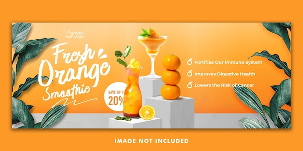 オレンジジュースドリンクメニューfacebookカバーバナーテンプレートレストランプロモーション用
