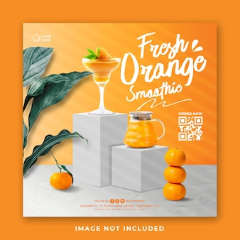 Orange juice drink menu social media post template