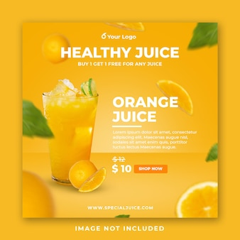 オレンジジュースドリンクメニューソーシャルメディア投稿テンプレート