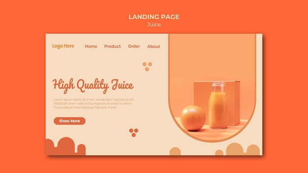 Orange juice landing page template