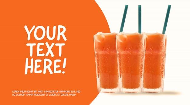 オレンジジュースのモックアップ、ストロー付きの3つのグラス