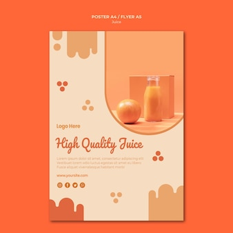 Orange juice poster template with photo