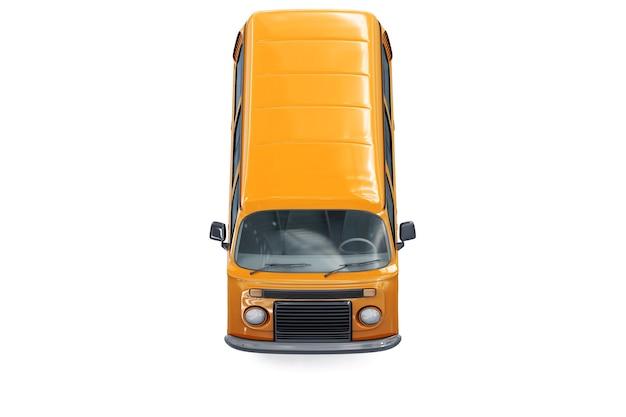 オレンジ色のミニバンのモックアップ