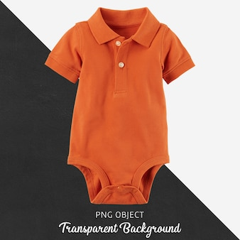 Orange polo jumpsuit for baby or children on transparent background