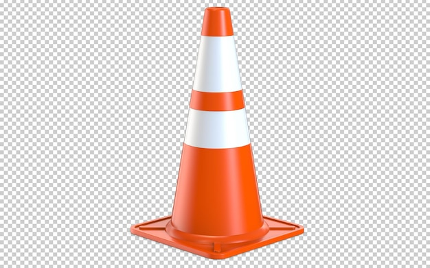 Orange realistic road traffic plastic cone with white stripes