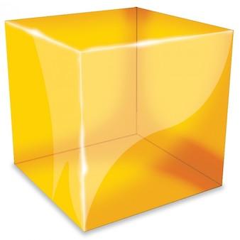 오렌지 반사 큐브 아이콘 psd