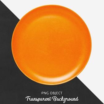 Orange round ceramic plate on transparent background