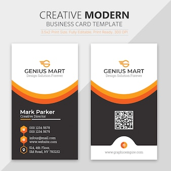 Orange shape visit card template