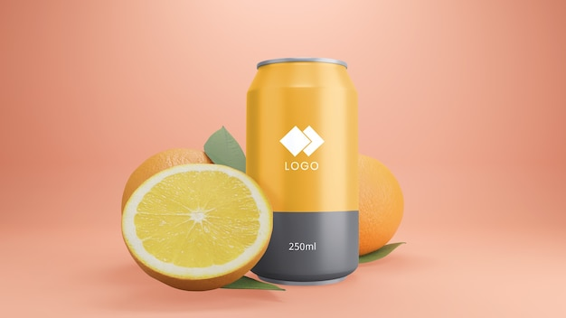 Orange soda can mockup with fruit