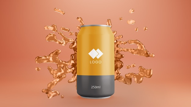 Orange soda can mockup with splashing juice