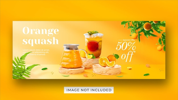 Orange squash drink menu promotion social media facebook cover banner template