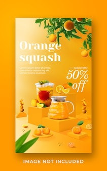 Orange squash drink menu promotion social media instagram story banner template