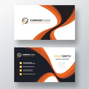 Orange wavy psd business card template