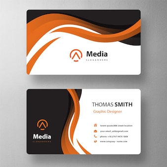 Orange wavy style business card mockup