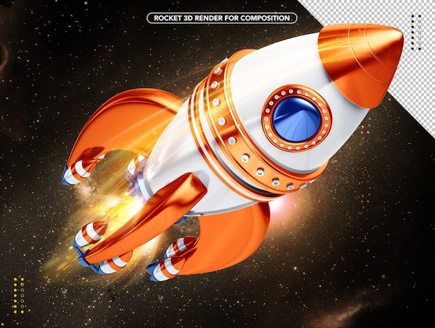 Orange and white realistic 3d rocket flying overhead