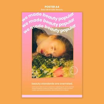 Modello di poster di prodotti di bellezza biologici