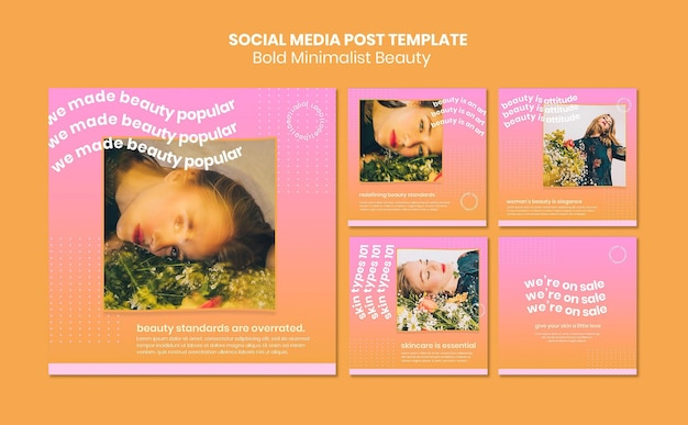 Organic beauty products social media post template