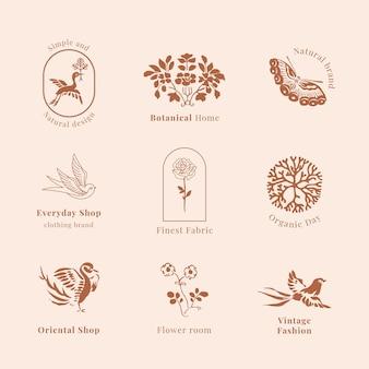 Collezione vintage del modello psd del logo del marchio organico