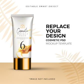 Organic cosmetics cream pack mockup ad
