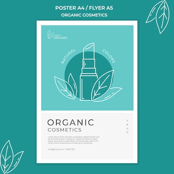 Organic cosmetics flyer template