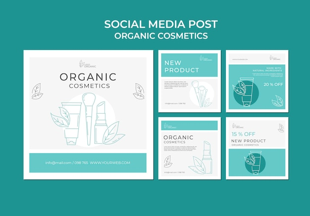 Organic cosmetics social media post template