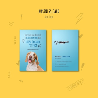 Organic dog food business card template