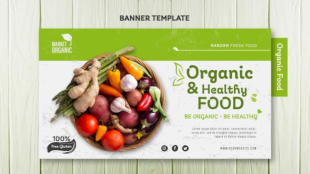 Organic food concept banner template