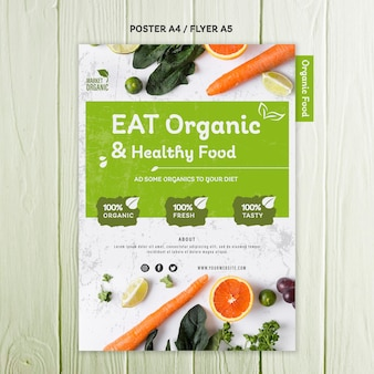 Organic food concept flyer template
