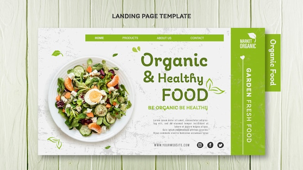Organic food concept landing page template