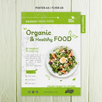 Organic food concept poster template