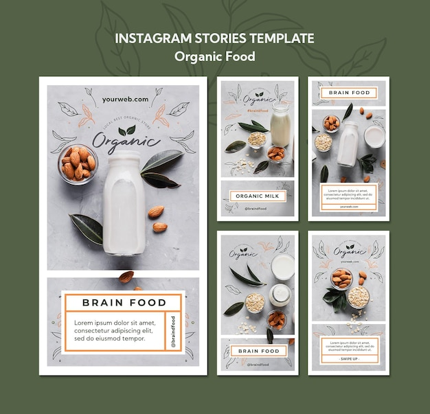 Organic food instagram stories template
