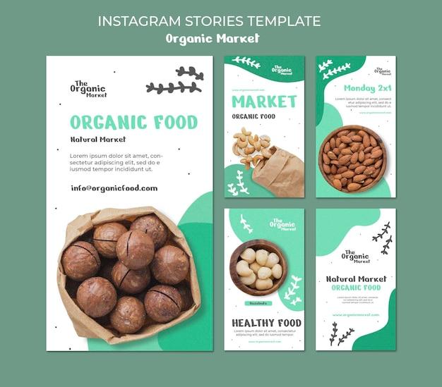 Шаблон историй instagram органических продуктов питания