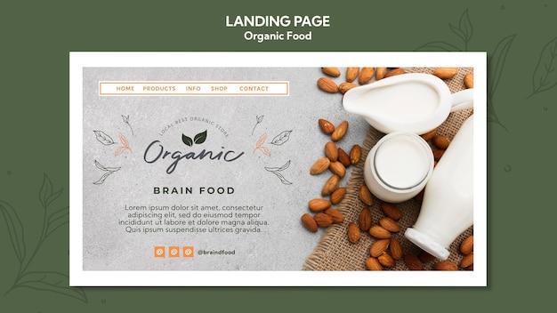 Organic food landing page template