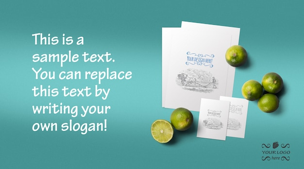 Organic food menu and business card mockup