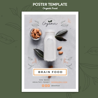 Organic food poster template