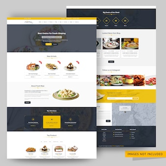 Organic food store landing page template premium psd
